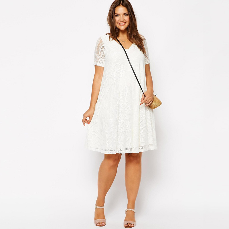 white Plus dress size mini