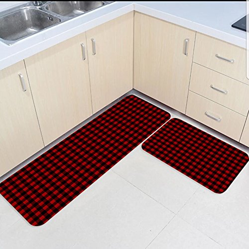 Rustic Red Kitchen: 2 Piece Kitchen Mats And Rugs Set Country Rustic Red Black