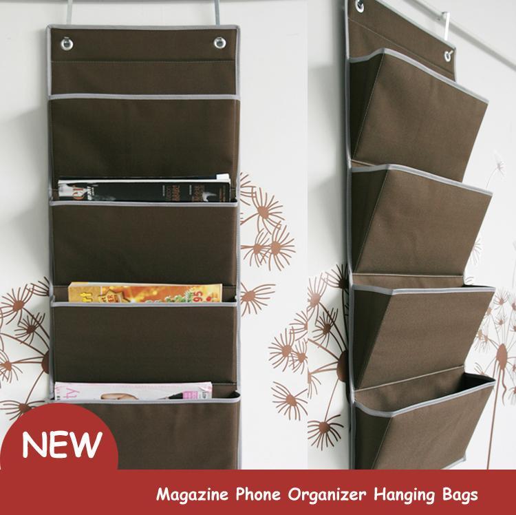 New oxford Fabric Bedside Pocket Storage bag hanger rack Magazine Phone Organizer Hanging Bags Door Closet
