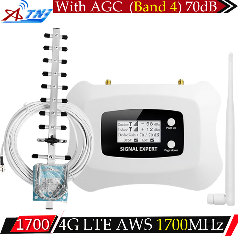 ATNJ 70dB Gain 3g 4g (Bande 4) 1700/2100 mhz Signal Booster LTE UMTS Repetidor AWS 1700 mhz Cellulaire Amplificateur Répéteur 4g Antenne