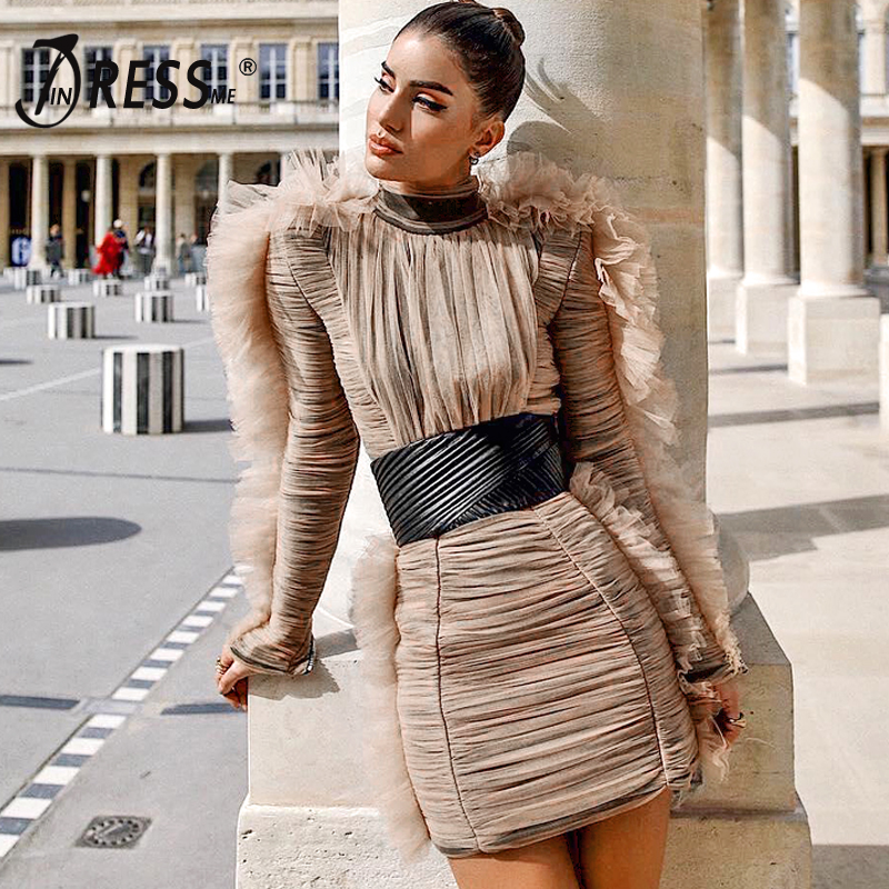 INDRSESME Women Bodycon Dress Lace Mesh O Neck Sexy Party Dresses Long Sleeve Sheath Club For Lady Fashion 2019 New Fashion