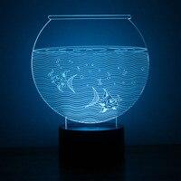 3D LED Noche Luz de La Novedad Visual USB Lampara Lámpara de Mesa creativa Lámpara de Dormir Del Bebé Tanque de Peces de Acuario Decoración lámpara