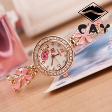 Fashion Luxury Flower Design Crystal Diamond Gold Dial Leather Band Dress Quartz Wristwatch Watch for Women Ladies Female OP001