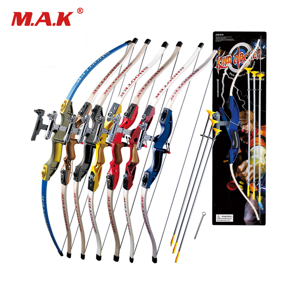 7 Color Send Sucker Recurve Bows with 3pcs Scuker Arrows for Children Outdoor Sports Shooting Game
