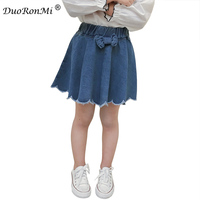 Kızlar Denim Etekler Yaz Tarzı Çocuk Çocuklar Elbise Rahat Yürümeye Başlayan Kız Bow Mini Parti Jean Tutu Etek 2018 Bahar Giyim