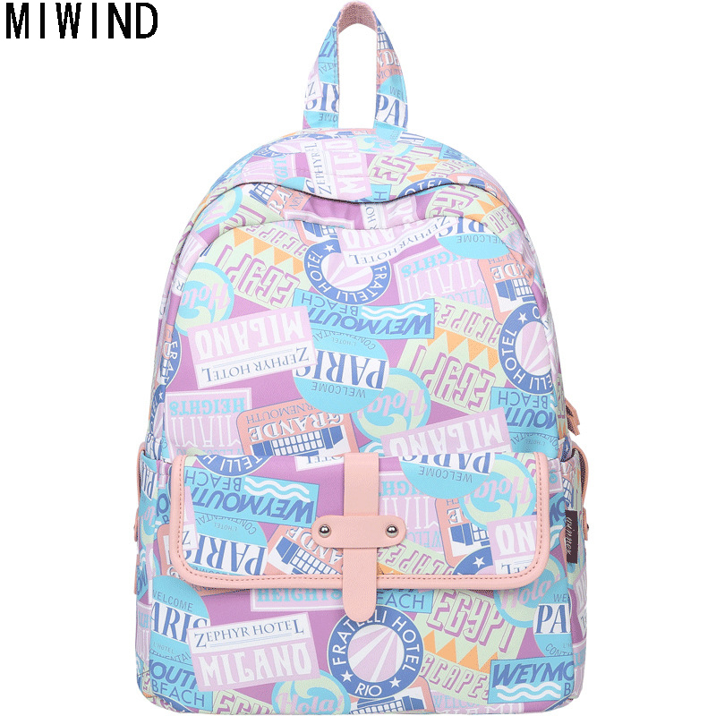 MIWIND Women Backpack Preppy Style School Bags for Teenage Girls Printing Backpack Fashion Leisure Laptop Travel Bags Rucksack 0 2017 fashion women pu leather backpack preppy style rucksack schoolbag for teenage girls lady shoulder backpack mini machilas