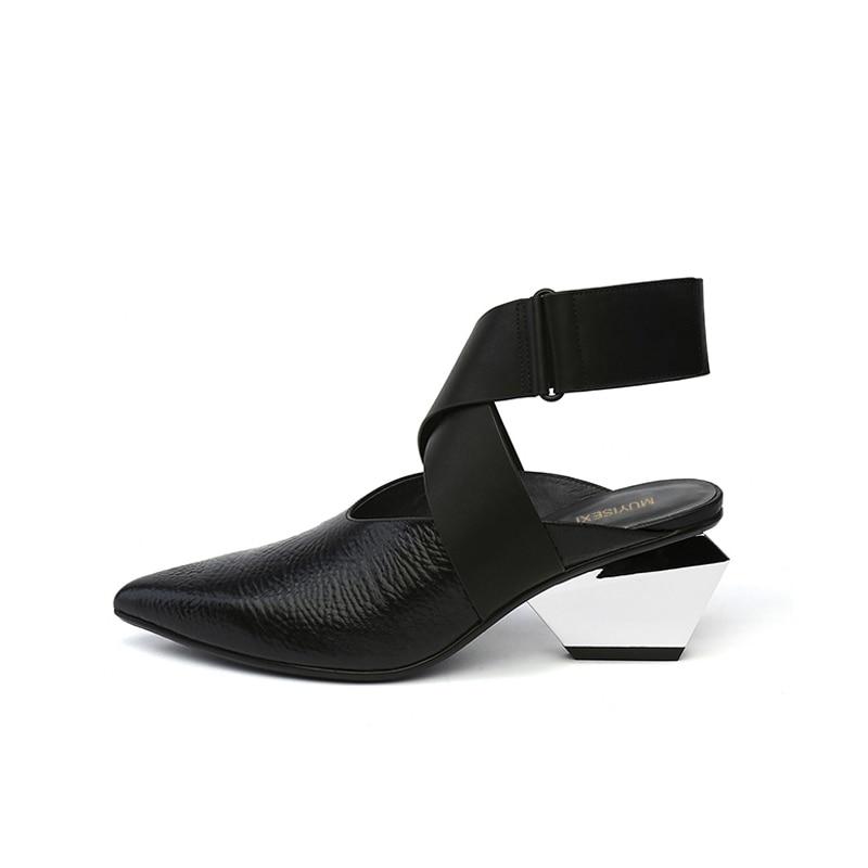 Ankle Bandage Strap Women Pumps Close Pointed Toe Chunky Strange Heel 6cm Retro Lady Sandals Dress Party Shoes HL118 MUYISEXI
