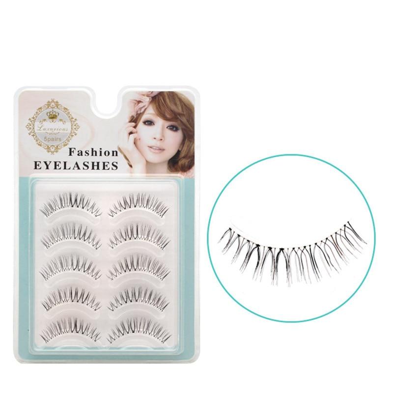 KESMALL 5 Pairs/Set Fashion False Eyelashes Cross Natural Eye Lashes Black Brown Color Makeup Tools Free Shipping CO163
