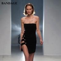 Leger Babe Sexy Mini Strapless Black Bandage Dress Runway Party Club Wear Split Sheath Button Side Asymmetrical Cutout Dresses