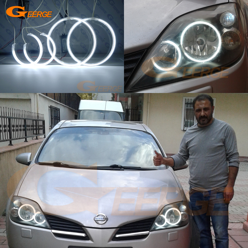 For NISSAN PRIMERA P12 2002-2008 Excellent angel eyes Ultra bright illumination CCFL Angel Eyes kit Halo Ring купить недорого в Москве