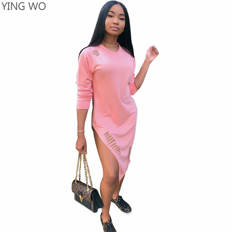 62f7e3f3e9f1 Pink Yellow Cut-out Details Midi Dress Autumn Fashion Women Long Sleeve O  Neck Side Slit Out Night Out Club Wear Dresses Online