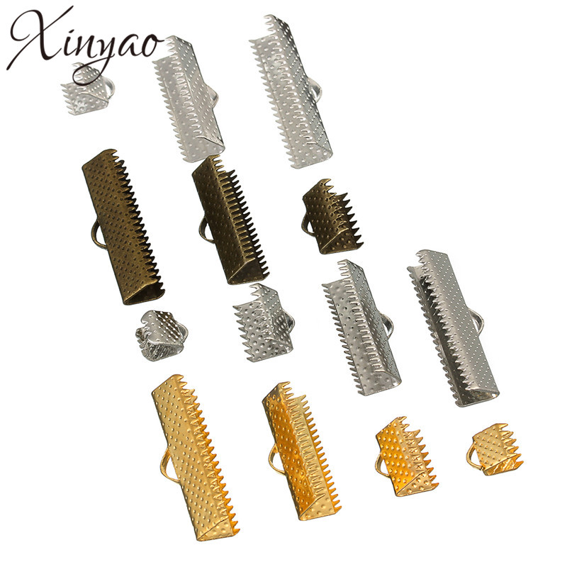 XINYAO 200pcs Gold Color End Clasps Fastener Fit 6 10 Mm Flat Leather Cord Metal End Caps Connectors For Diy Jewelry Making