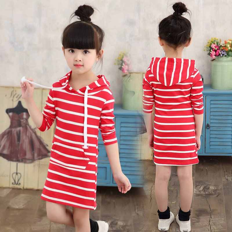 24d1ea24dc025 Fashion Autumn Girl Dress Hooded Long Sleeve Kids Clothes Toddler New  Casual Children Clothing Striped Tutu Baby Dresses Girls