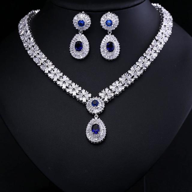 Luxury White Gold Color Elegant Shape Bridal Cubic Zirconia Necklace Earrings Sets Wedding Jewelry