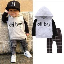 Зимний комплект одежды для маленьких мальчиков и девочек, Повседневный свитер с длинными рукавами и надписью «OH boy»+ штаны, комплект одежды из 2 предметов для маленьких мальчиков