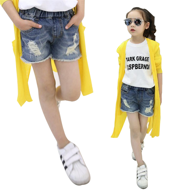 2018 New Fashion Summer Casual Girls Pants Baby Girls Clothing Ripped Hole Denim Shorts Jeans Children Kids Clothes trendy ripped fringe lace spliced denim shorts