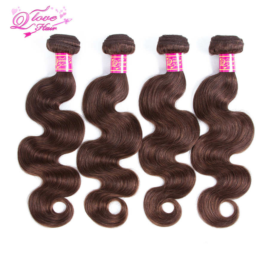 Queen Love Hair Brazilian Human Hair Weave 4 Bundles Non Remy Hair Extension Body Wave Bundles #4 Weaving 10-26 Inch
