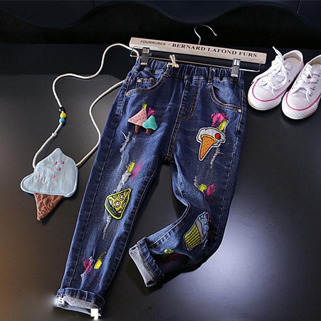 Niñas de Dibujos Animados pantalones Vaqueros de Mezclilla Pantalones Para Niñas Niños Cintura Elástica de la Ropa Parches helado Pantalones niños de la escuela Ropa de pizza