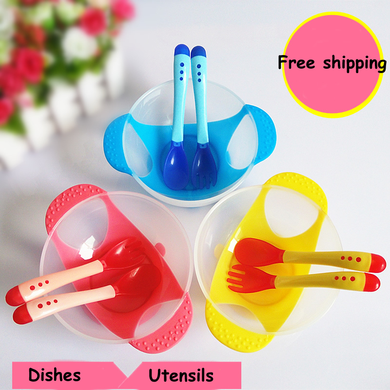 Safety Suction Cup Feeding Training Bowl with Temperature Sensing Spoon Fork for Baby Toddlers Kids Yellow