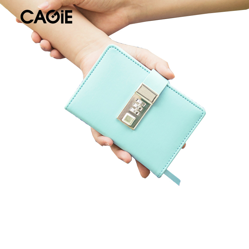 CAGIE 2018 New Arrive A7 Notebook Lock Diary Women Cute Leather Travelers Notebooks Kawaii Mini Planner Sketchbook Filofax cagie 2017 new arrive a7 notebook lock diary women cute leather travelers notebooks kawaii mini planner sketchbook filofax