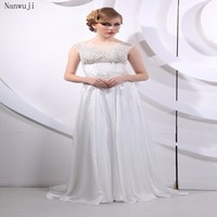 Sexy A line Beach Wedding Dress Scoop Open Back Fashion Lace White/ Ivory Bridal Gowns Sweep Train Vestido De Noiva In Stock