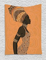 African Woman Tapestry Indigenous People Of Africa Theme Local Woman In Traditional Turban And Dress