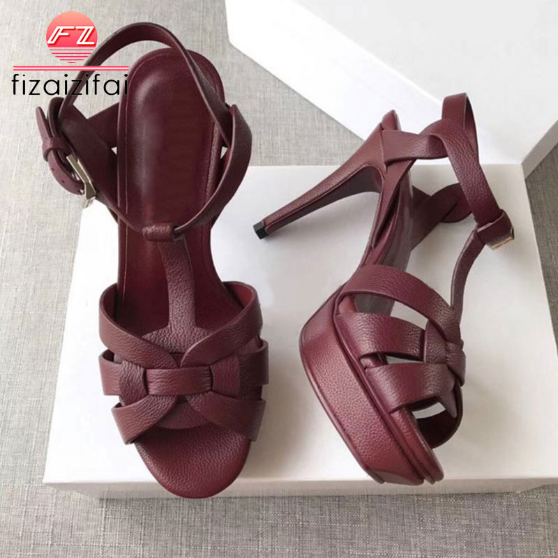 KaiziKarzi Women Sandals Real Genuine Leather High Platform Brand Shoes Women Party Sexy Wedding Woman Footwear Size 33-40KaiziKarzi Women Sandals Real Genuine Leather High Platform Brand Shoes Women Party Sexy Wedding Woman Footwear Size 33-40