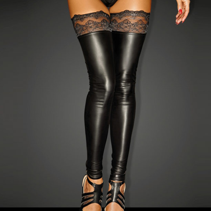Sexy Women Wet Look Faux Leather Thigh High Stockings Gothic Lace Patchwork Floral Printed Fetish Black Skinny Long Stockings