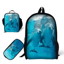 School 3pcs/set for boy Backpack Dolphin print Satchel Schoolbag In Primary Students Notebook Bag Meal package Pencil case
