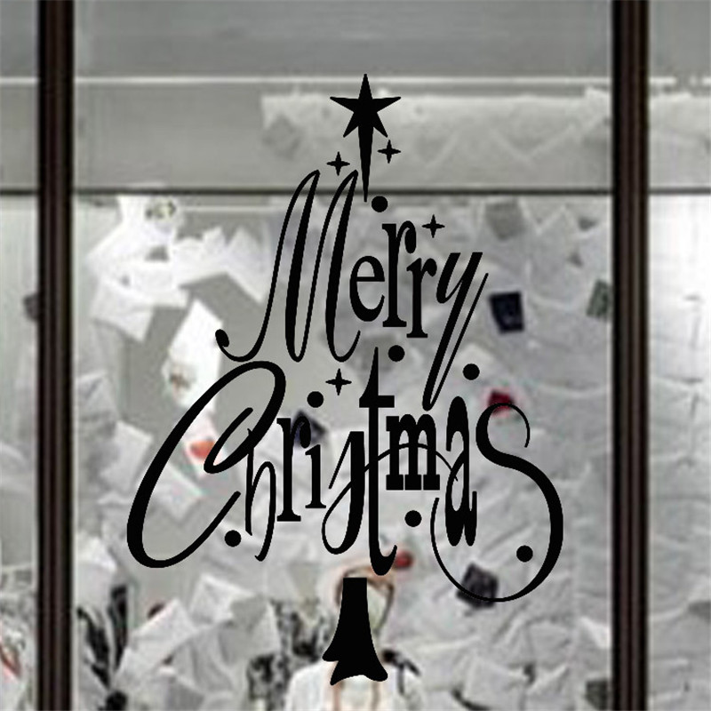 Free Shipping Removable Festive Merry Christmas Wall Sticker Glass Stickers in Wall Stickers from Home Garden