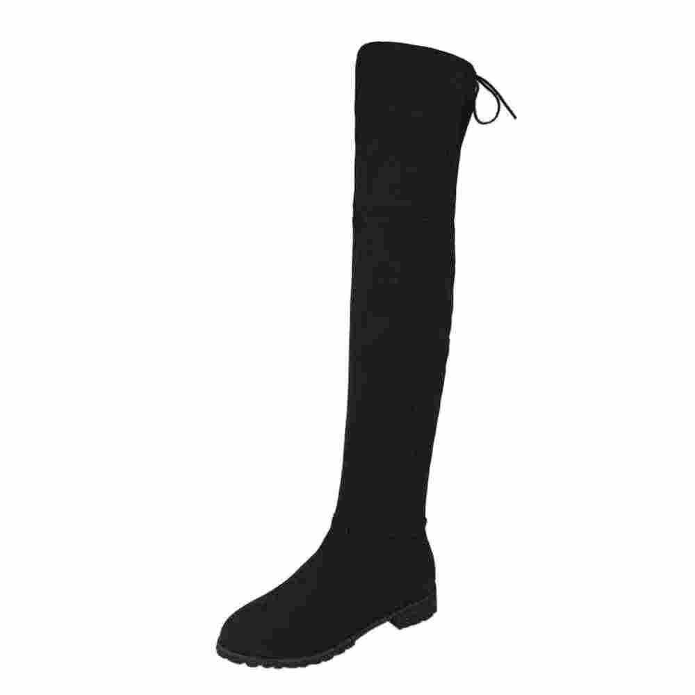SAGACE 2018 หัวเข็มขัดผู้หญิง Slim สูงกว่าเข่า Trim รองเท้าแบนรองเท้าผู้หญิงยืดหยุ่นสบาย Warm Plush ภายในรองเท้า botas