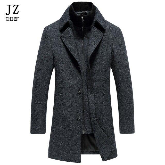 f68b9dd58 JZ CHIEF Wool Coat Men Long Dress Coats For Men Trench Coat Mens Peacoat  Slim Fit Winter Jacket Men Overcoat Jackets Wool Blends