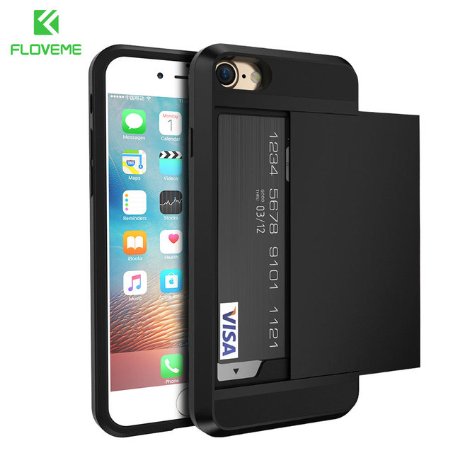 FLOVEME For iPhone 5S 5 SE iPhone X XR XS Max 6 6S Cases Armor Case For iPhone X 7 6 6S Plus Card Holder Men Phone Accessories