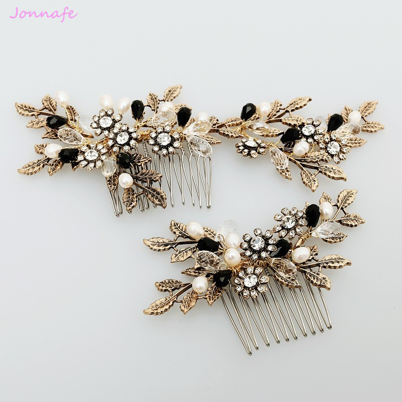 Jonnafe 2017 Vintage Gold Leaf Flower Hair Comb Pearl Bridal Hair Jewelry Handmade Wedding Accessories Combs Women Headwear jonnafe handmade red flower wedding prom hair clip jewelry gold leaf bridal hair accessories comb headpiece