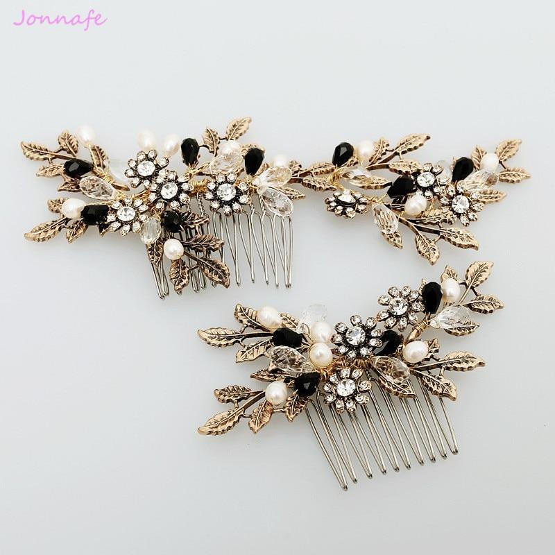 Jonnafe derliaus auksinių lapų gėlių plaukų šukos perlų, vestuvių plaukų papuošalai, rankų darbo vestuvių aksesuarai, šukos, moteriški galvos apdangalai