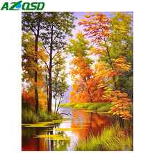 AZQSD Diamond Painting Forest Embroidery Autumn Landscape Full Square Rhinestones Pictures Crystal Mosaic Home Decor
