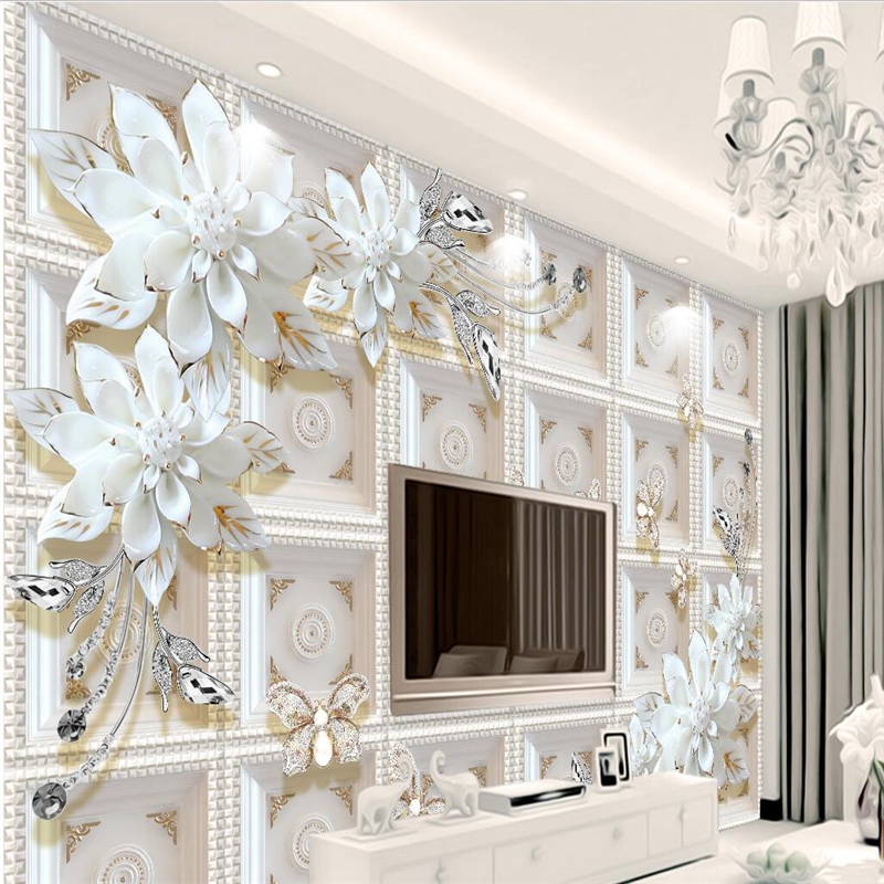 Custom Mural Wallpaper 3d Stereoscopic Relief Pearl: Beibehang Stereo Relief Jewelry Flowers European Style 3D