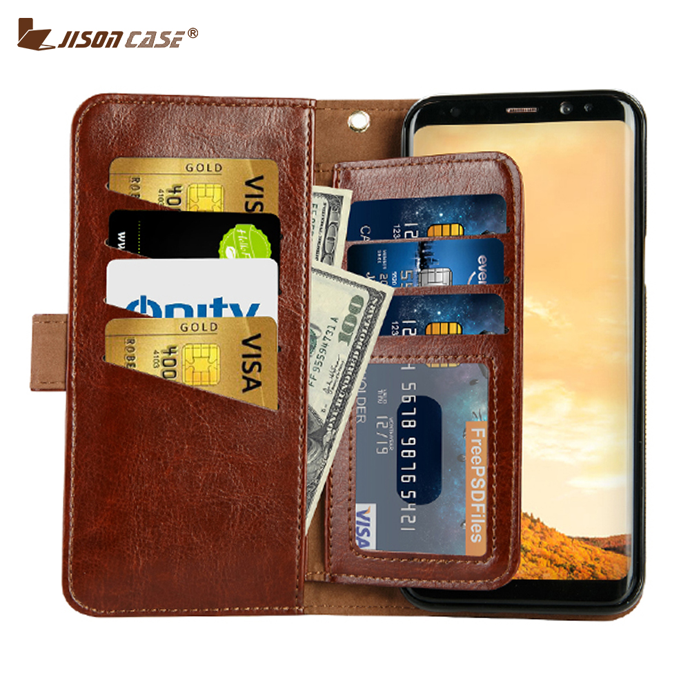 Luxury PU Leather Phone Cases for Samsung S8 S8 Plus Case Smart Cover Jisoncase Original ...