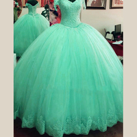 Sweet 16 Princess Light Blue/Mint Green Lace Quinceanera Dresses 2017 Ball Gowns V Neck Floor Length Soft Tulle Pageant Gowns