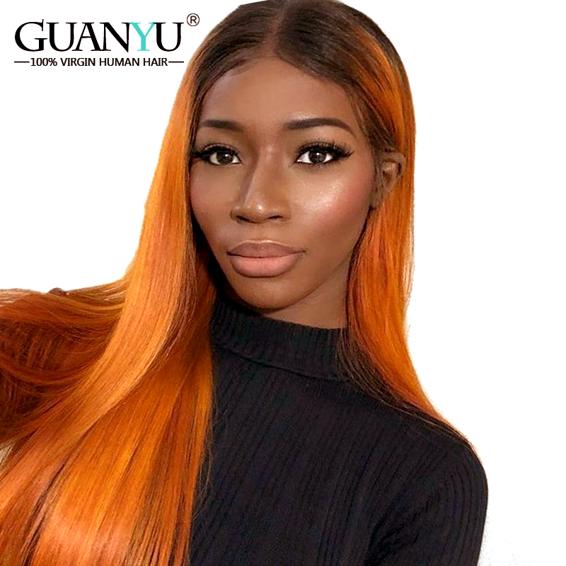 Guanyuhair Pre plucked Ombre 1B Orange Brazilian Remy Human Hair Lace Front Wigs Straight 130 Density