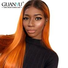 قبل التقطه أومبير # 1B/البرتقال البرازيلي ريمي الإنسان الشعر 13*4 الدانتيل الجبهة الباروكات مستقيم 150% الكثافة شحن جزء ل Guanyuhair