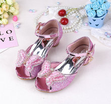 Summer Butterfly pearl Girls Princess Sandals Childrens Shoes Kids High Heels Leather Bowtie Korean style