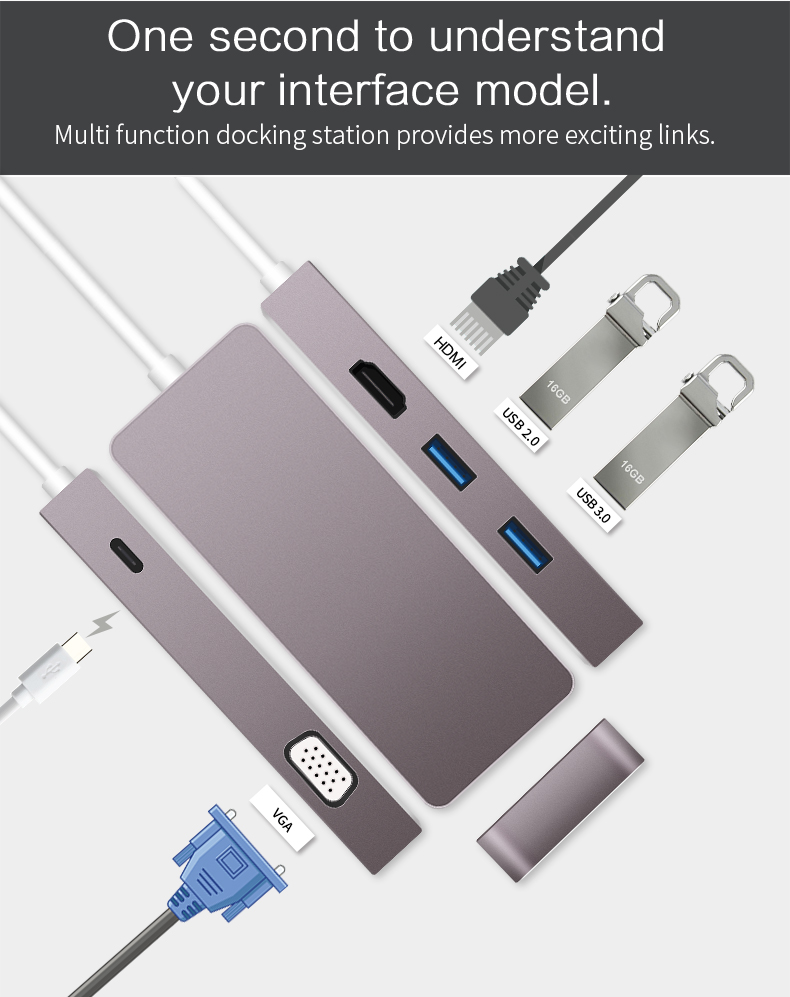 thunderbolt 3 hdmi vga adapter usb c to HDMI 4K VGA Converter type c charging hub for 2017 macbook