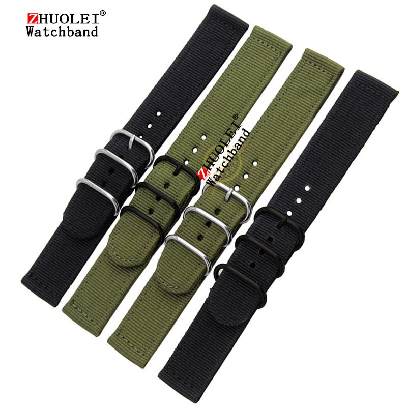 nylon watchband 20mm 22mm Army green black 3 rings ZULU watchband waterproof Nato nylon strap with stainless steel buckle rings survival nylon bracelet with stainless steel buckles green