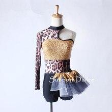 Асимметричное Платье для латиноамериканских танцев с леопардовым принтом, современный танцевальный костюм для взрослых, C305