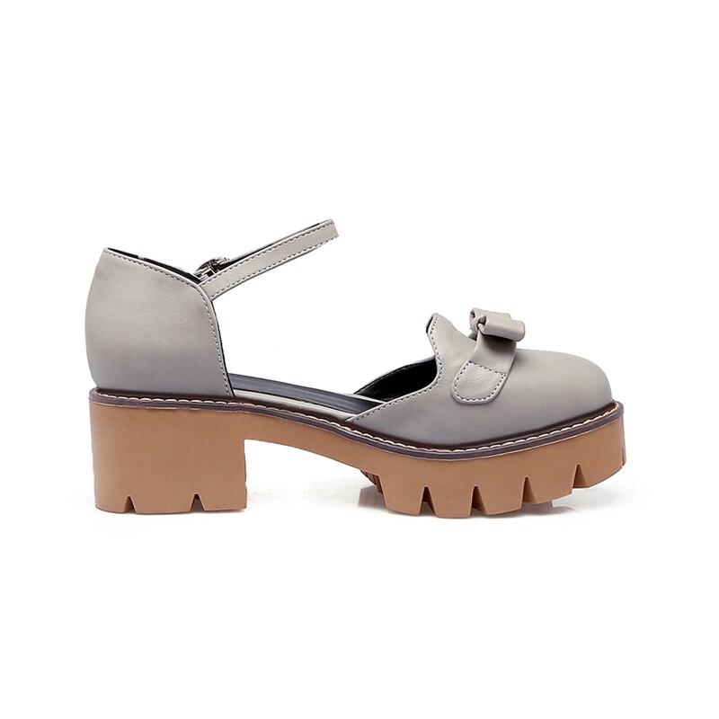ca19ce3393afac Nouvelle Pompes gris Papillon noeud 43 Karinluna Carré Med Grande Casual  Solide Femme Sangle apricot Plate Chaussures ...