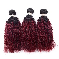 CHOCOLATE Afro Kinky Curly Hair 3 Bundles Ombre Color Brazilian Hair Remy Human Hair Kinky Curl Red / Blonde / Brown Color