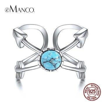 9996e3e6cc3 EManco 925 anillo ajustable de plata minimalista redondo de plata y ópalo  anillos para mujeres ...