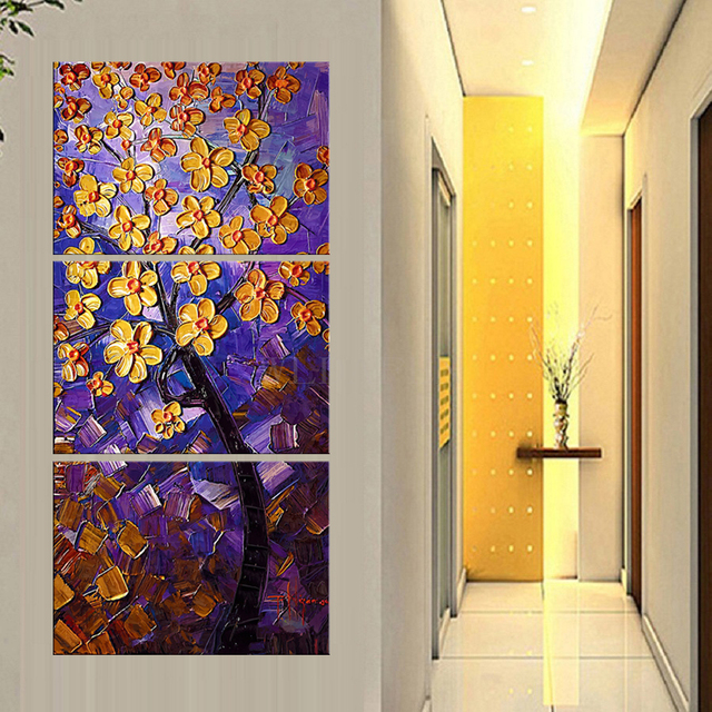 3 panel canvas wall art Purple abstract money tree paintings wall ...