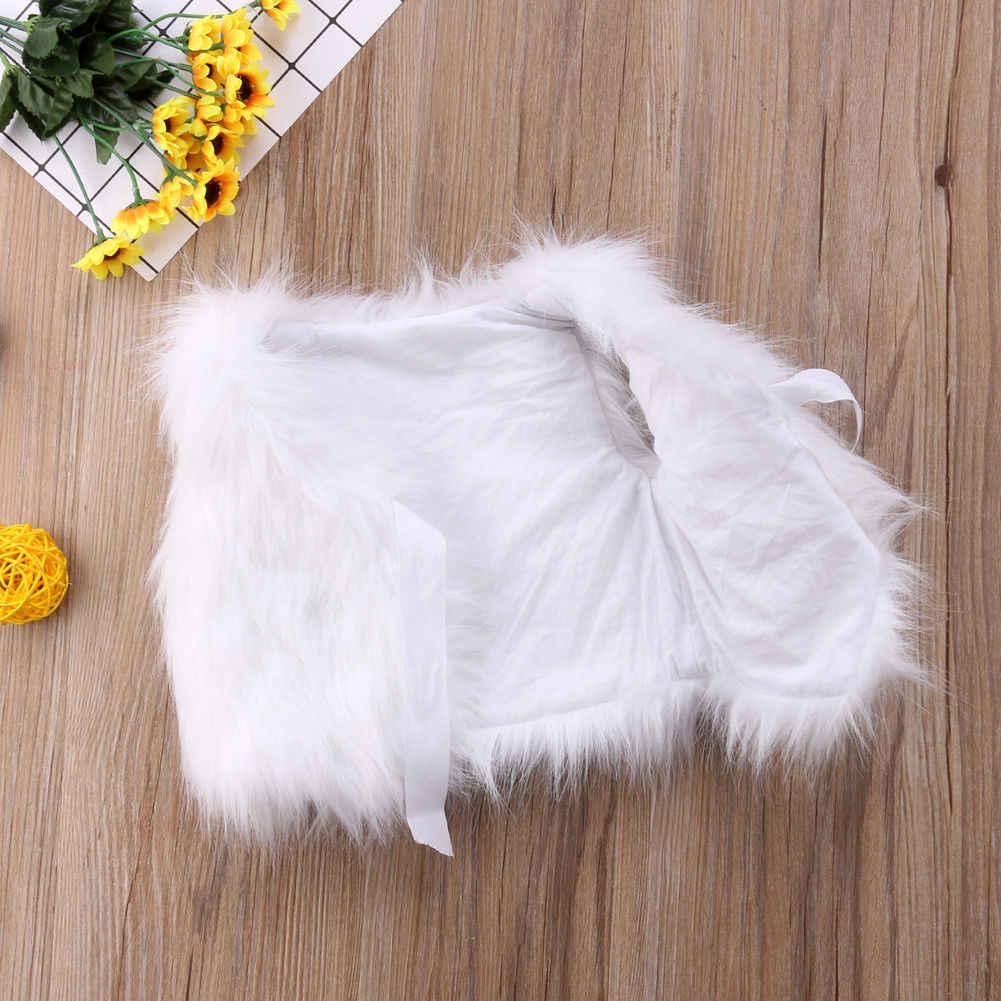 Neu Kleinkind Baby Mädchen Kinder Faux Pelz Weste Weste Baby Mädchen Warme Winter Bogen Gürtel Weiß Mantel Outwear Jacke